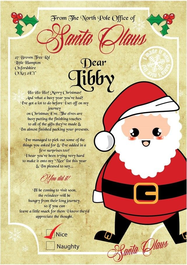 Letter from santa, letter from father christmas, personalised santa letter
