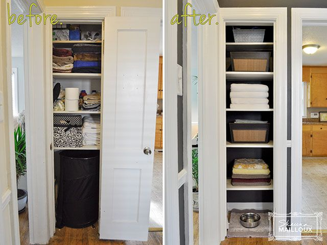 Remove The Door To A Linen Closet For Open Shelving. Maybe Do Something  Like This That Will Hold The Cat Box And Have Storage. Hate Going A Whole  Closet To ...