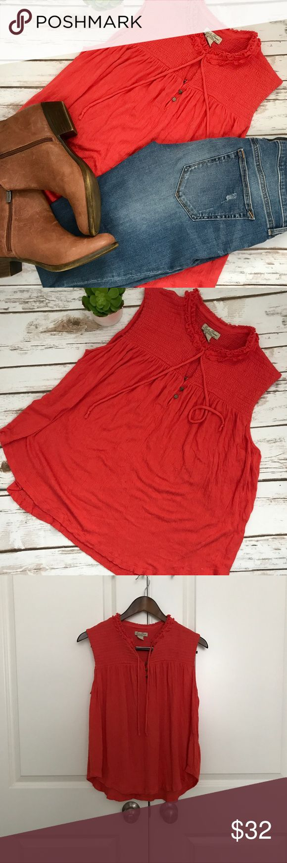 """Luck Brand Coral Gauze Sleevless Shirt Size Large Deep Coral/Red Lucky Brand sleeveless shirt in a lightweight gauze material.  Super comfortable  and flowy.  Looks great with jeans and boots  pair with your favorite cardigan.   Length=23"""" Bust=26"""" Lucky Brand Tops Tees - Short Sleeve"""
