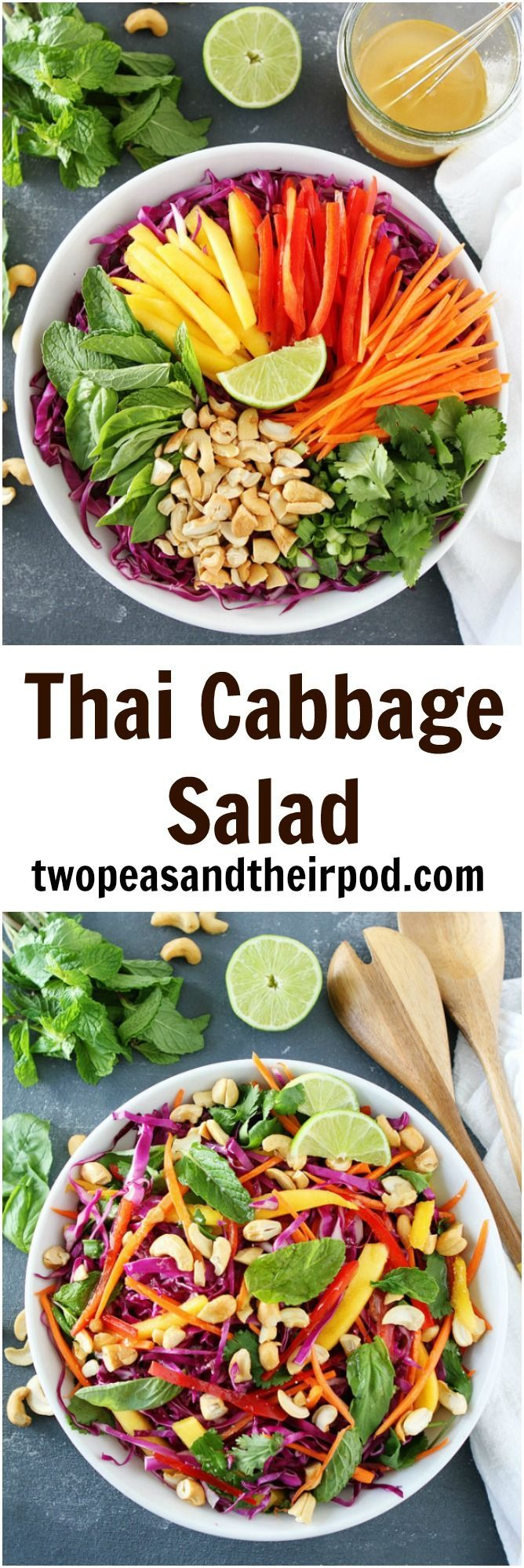 Thai Cabbage Salad Recipe on twopeasandtheirpod.com This healthy Thai-Style Cabbage Salad is light, bright, and packed with crunch and flavor.