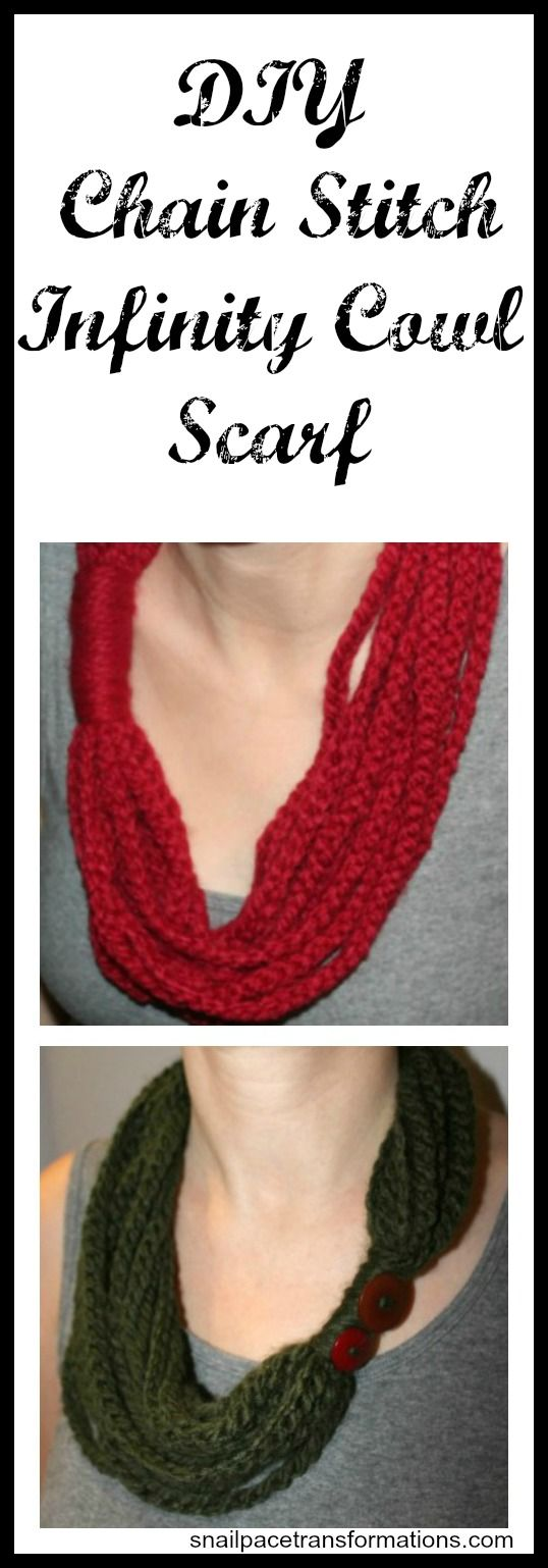 DIY chain stitch infinity cowl scarf. Takes less than one skein of yarn. Use just the basic chain stitch.  Takes less than 2 hours to make. Would be a great inexpensive gift.