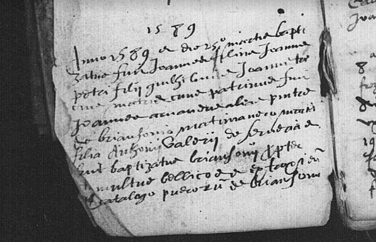 L'acte le plus ancien des Hautes-Alpes, un acte de baptême daté de 1589, sur la commune de Cervières | Archives Départementales (AD) des Hautes-Alpes (05) - cote 3 E 4941 GG 3, BMS 1589-1613, vue 4