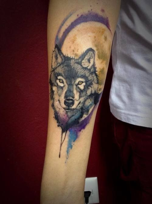With red tints in the wolf and one blue eye Maybe a cherry tree in background for the shiba