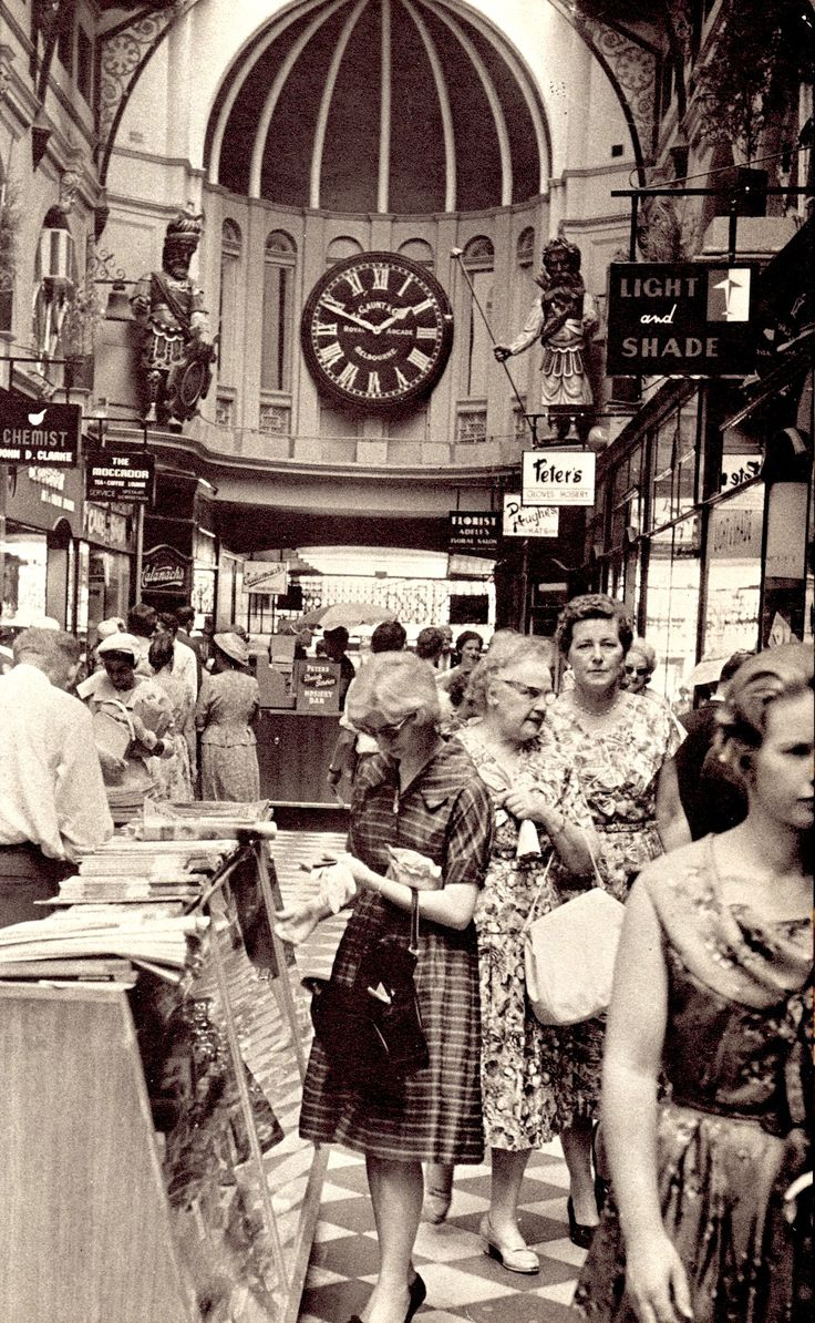 THE ROYAL ARCADE MELBOURNE looking at Gog & Magog, the figures high up on either side. Photo (detail) by Brian McArdle. From this shot you'd think Melbourne was full of frumpy old dears, well it often was. Image from Graham Kennedy's Melbourne. 1967. (minkshmink on pinterest)