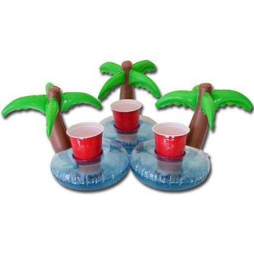 Inflatable Palm Island Pool Drink Holder (3 Pack), Float your drinks in style ////////////////// gadgets, cool tech, pool party, alcohol, summer fun, college party, awesome stuff
