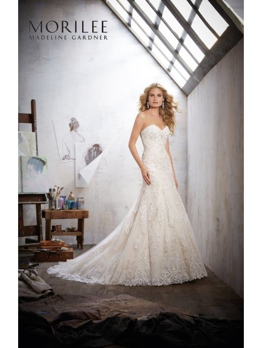 New MORI LEE Mori Lee MACKINLEY Strapless Romantic Lace Wedding Gown Ivory