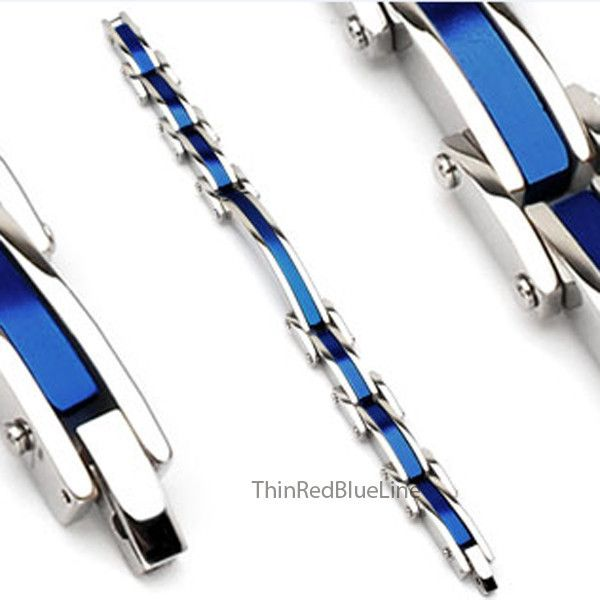 $39.00 Stainless Steel Thin Blue Line Bracelet, Thin Red Blue Line - Donations made to firefighter and police charities