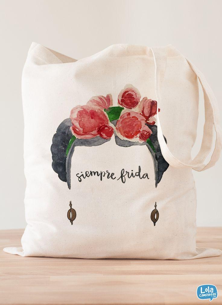 Siempre Frida, diseño de Clementine#Totebag #Bolsa #Kahlo #Acuarelas