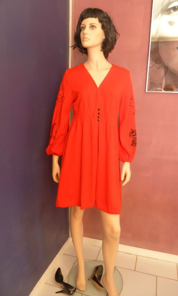 Hubarbs C.70's Candy Apple Red Long Sleeve Dress Size 14