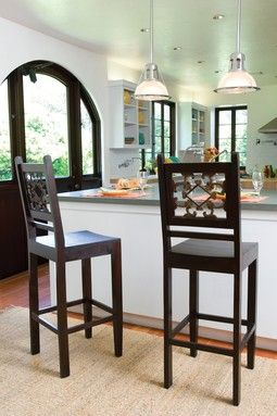 "Beautiful kitchen (love the window and the barstools).  Find the barstools under ""Vintage Home"":  Boards, Dreams Kitchens, Counterstool, Doors Frames, Bar Stools, Florence Barstool, Homes, Counter Stools, Home Furniture"