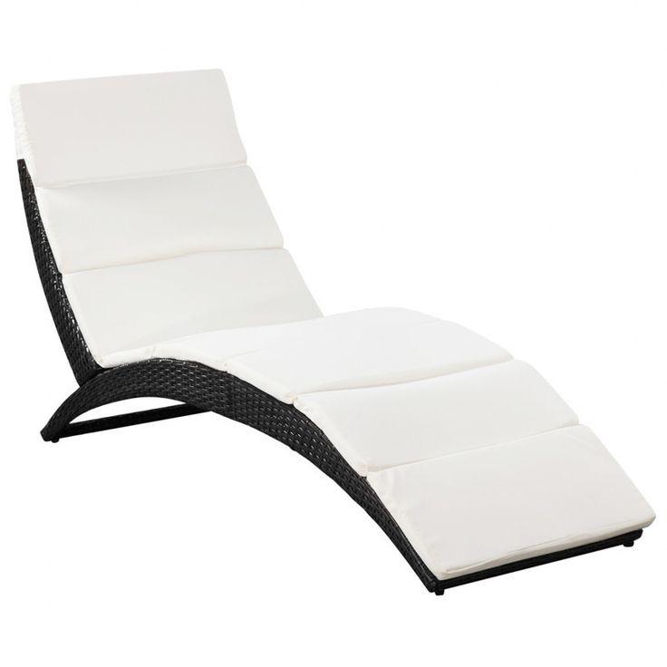 Foldable PE Rattan Sun Lounger w/ Cushions in Black   Buy Wicker Outdoor Furniture