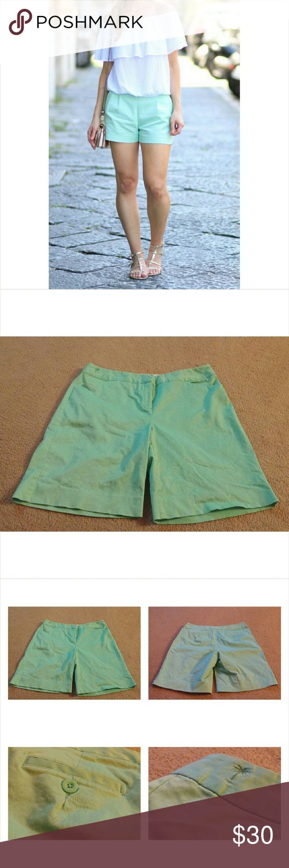 """Lilly Pulitzer Mint Green Shorts Lilly Pulitzer Mint Green Shorts. Inseam measures 9"""". Waist laying flat measures 17"""". There are a few tiny marks near the left front pocket. Would not come out in the wash, as seen in the last photo collage. The model in the last photo is just for outfit inspiration. Lilly Pulitzer Shorts"""