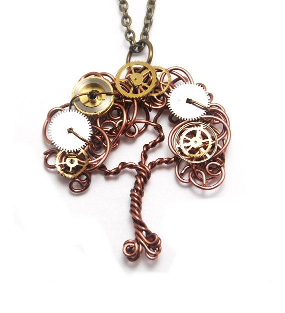 Steampunk Gear Tree Pendant Wire Tree Pendant by CuriousJewelry