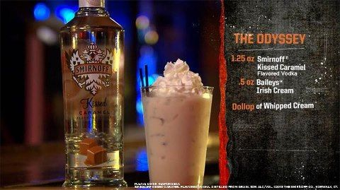 Smirnoff Kissed Caramel Shot 1.25 oz Smirnoff kissed carmel vodka .5 oz Baileys Irish Cream dollop of whipped cream