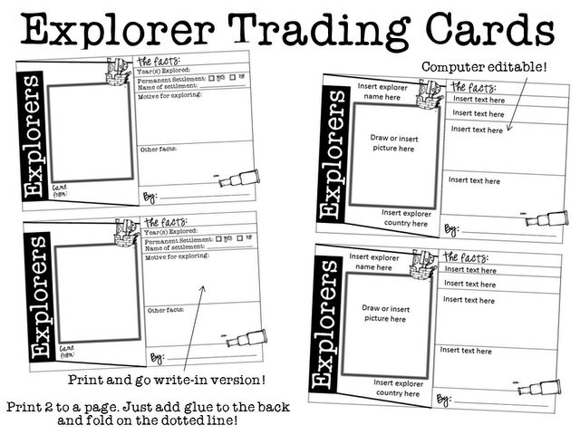 Ginger Snaps: Explorers Trading Cards for any explorer - editable and printable template