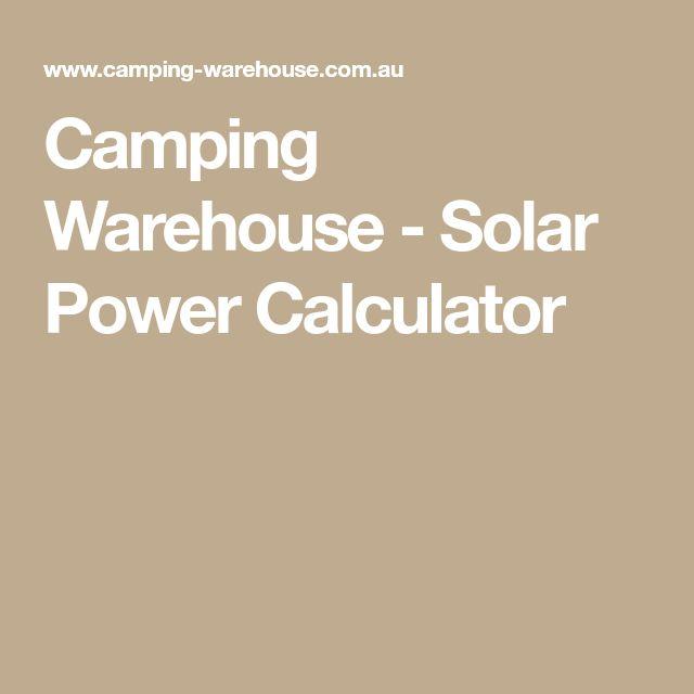 Camping Warehouse - Solar Power Calculator