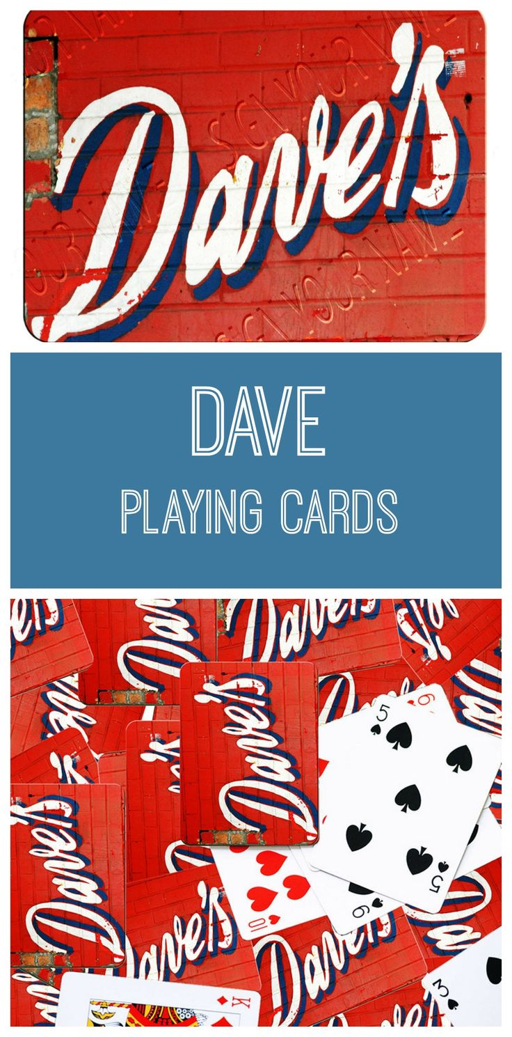 DAVE playing cards featuring the name in sign photos!