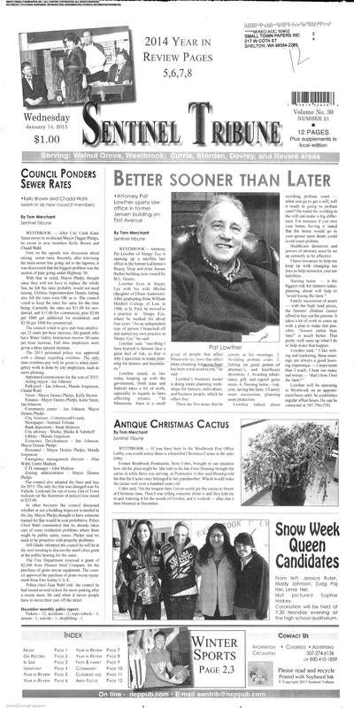 The Sentinel Tribune (Westbrook, Minnesota) newspaper archive - http://stl.stparchive.com/