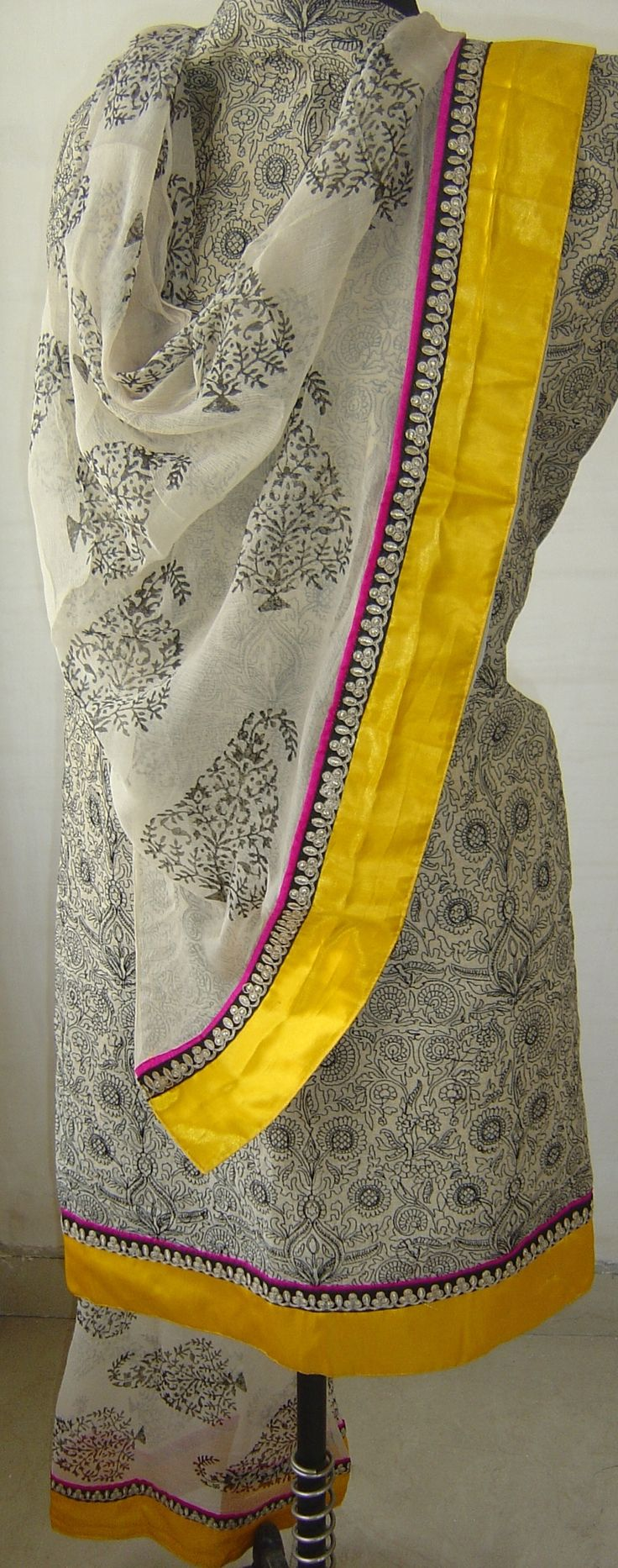 Chanderi suit with embroidery & satin border. For orders and inquiries, please mail us at naari@aninditacreations.com.  Like us at www.facebook.com/naari.aninditacreations