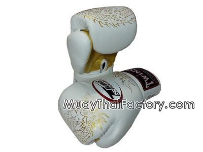 muay thai factory - Twins special Twins Special gloves - DRAGON - White/Gold for sale.  [TW-G-006-WG] love the white with gold accents