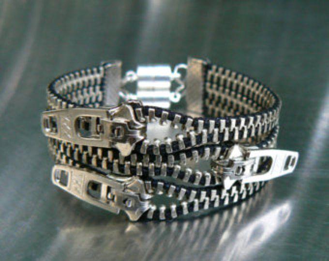 Nickel Uno Dos Tres Zipper Armband - Manschette Armband - Gothic Schmuck