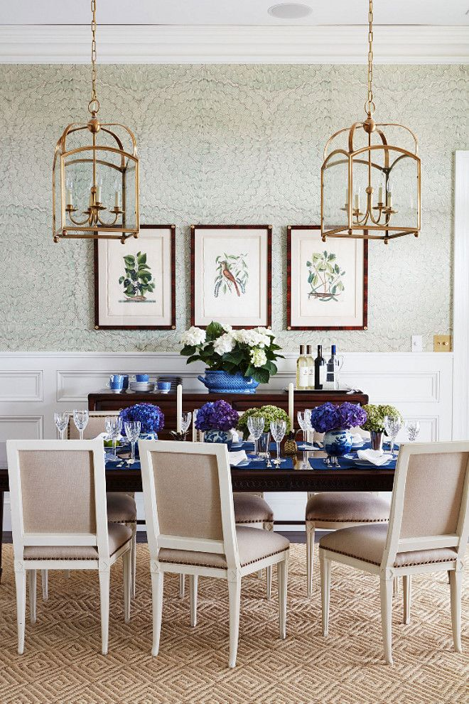 Sisal Wallpaper Is Celerie Kembles Feather Bloom By Schumacher The Prints Are English Naturalist Mark Catesby Dining Table Hickory Chair