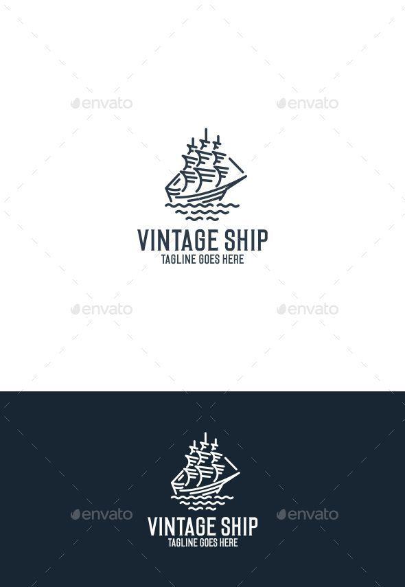 Vintage Ship Logo Template Vector EPS, AI Illustrator