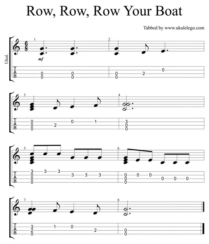 Simple chord melody arrangement of the nursery rhyme Row, Row, Row Your Boat for Ukulele…