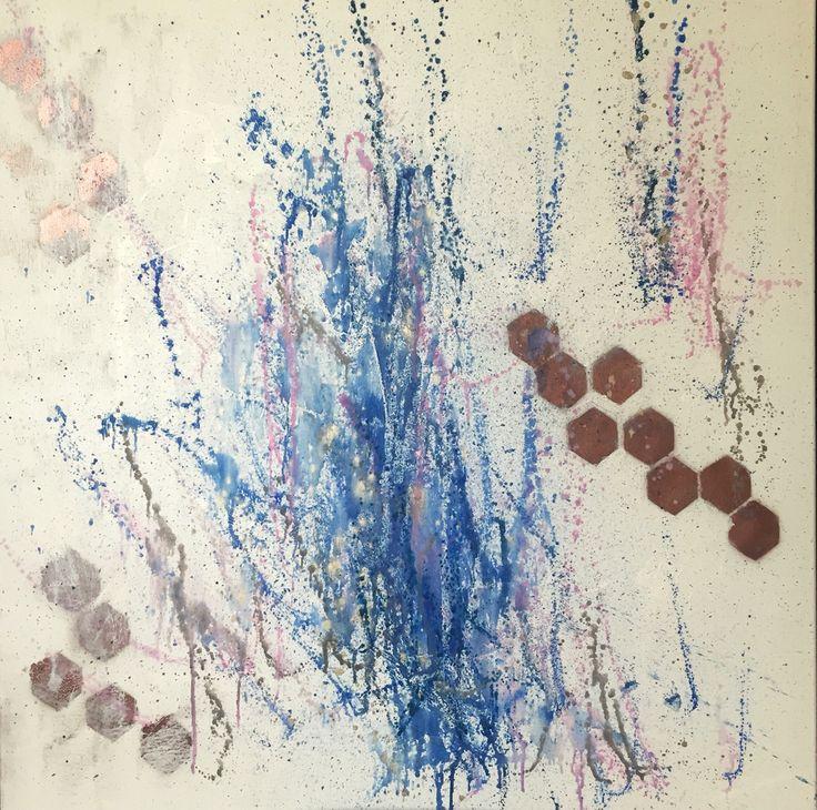 M&W - Painting by Aneta Szczepanska Art 100x100cm Watercolour, Acrylic, Oil on canvas. Navy, Rose Pink, rose gold.