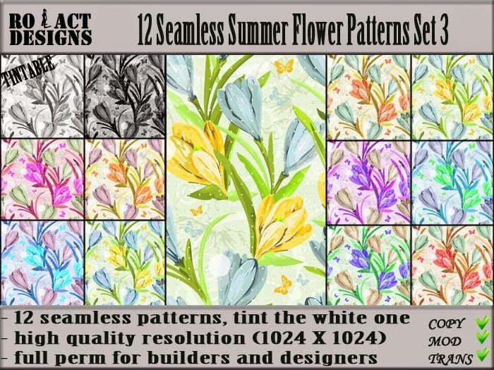 Ro!Act Designs 12 Seamless Summer Flower Patterns Set 3