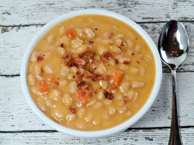 A 5-star recipe for Campbell's Bean & Bacon Soup made with navy beans, bacon, carrots, celery, onion, thyme, garlic, tomato paste, red pepper