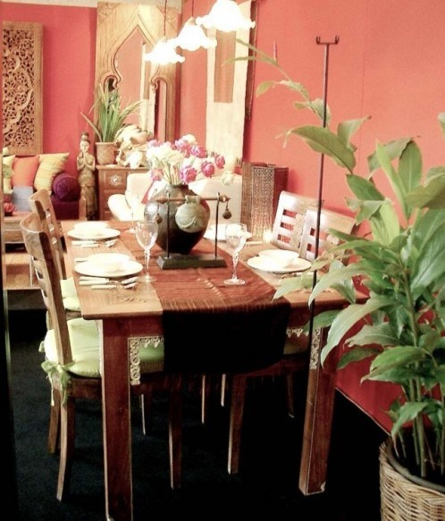 Javanese ethnic dining table set decoration