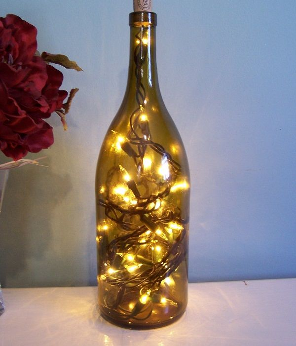 DIY Lights In A Wine Bottle Holiday Decoration + Five More