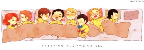 Hawkeye is holding Black Widow's hair, Tony has a taped on mustache, Coulson has moved over to sleep next to Cap.  Thor is snoring and driving Loki crazy.  So so so cute!! ♥♥