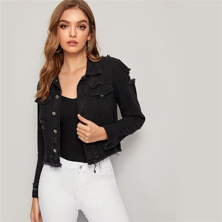 Wash Ripped Frayed Edge Jacket in 2020 | Denim jacket sale ...