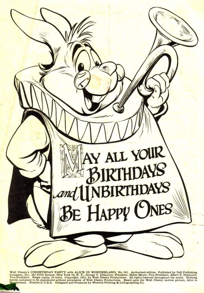The White Rabbit Says May All Your Birthdays And Unbirthdays Be Happy Ones