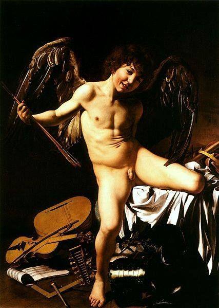 Caravaggio, Amor vincit omnia (1602 circa, Berlino, Staatliche Museen). Qui la spiegazione completa del dipinto: http://www.finestresullarte.info/operadelgiorno/2013/146-caravaggio-amor-vincit-omnia.php