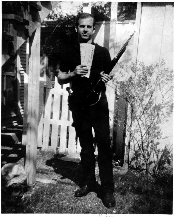 The famous -or infamous- picture of Lee Oswald in which he claimed that his head had been pasted on another mans body. As the picture was taken outside of his lodgings and his wife Marina admitted to taking the photo I've never known what the fuss is all about.
