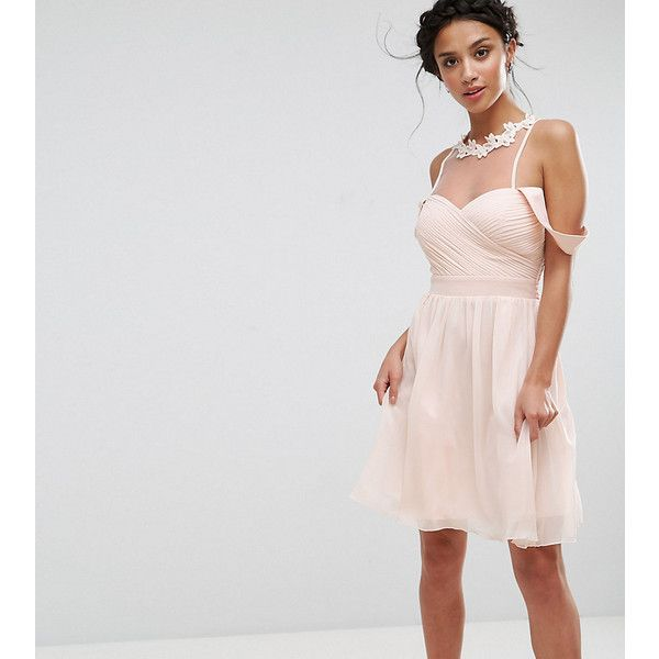 Little Mistress Petite Cold Shoulder Pleated Bust Mini Dress With Lace... ($91) ❤ liked on Polyvore featuring dresses, petite, pink, pink lace dresses, prom dresses, petite maxi dresses, lace cocktail dress and petite prom dresses
