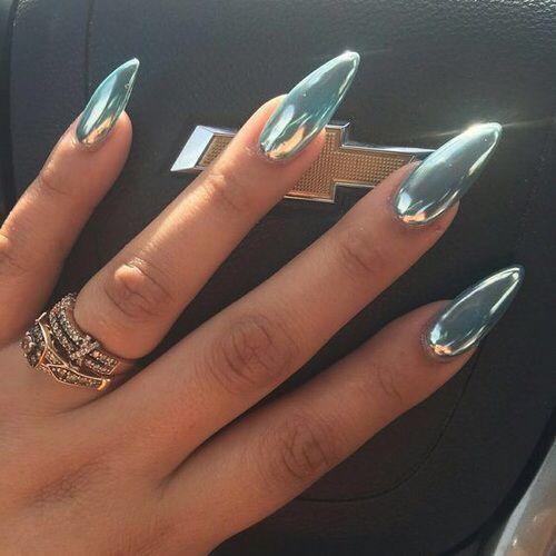 Chrome pale blue almond shaped nails