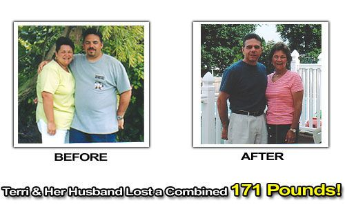 Terri and her husband before and after combined 171 pound weight loss photos.  Walking success story.  #motivation