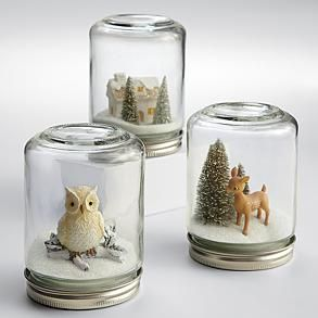 winter wonderland snow globe from RedEnvelope.com These are 14 dollars on the site but they'd be super easy to make if you have empty jars around!