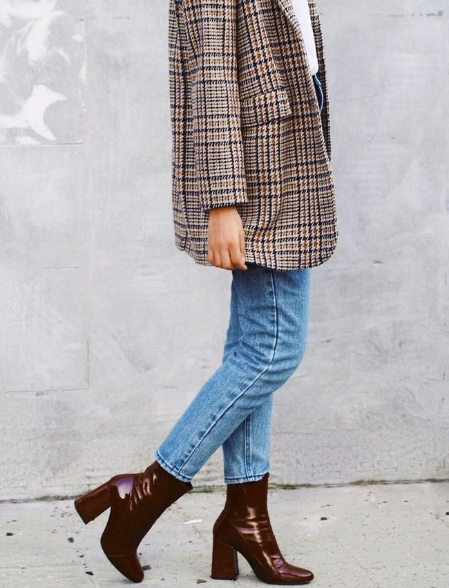 White sweater+ plaid blazer jacket + jeans + ankle boots. Casual classy chic ove... 2