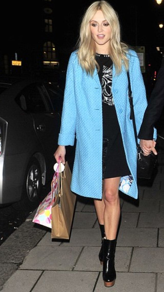 Fearne Cotton in a baby blue coat