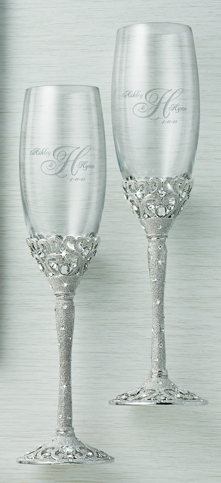 These Madison Avenue champagne flutes come with the matching cake server set! Personalize them just for your wedding! #ThingsRemembered