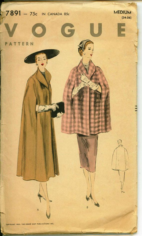 1950's Vintage Sewing Pattern - VOGUE 7891 - Beautiful 1955 CAPE Pattern  - Fully Lined with Shawl Collar
