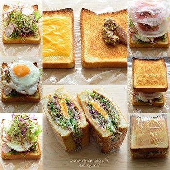 ほかにもコツが。パンにふれる一番下と上の具は、スライスチーズやレタスなど平らなものを使うとおさまりやすく、また野菜の水分がパンにしみ込みにくくなります。さらに、切るときは3回に分けて。上のパン、具、下のパンと順に切るイメージで、一方向にナイフを入れます。