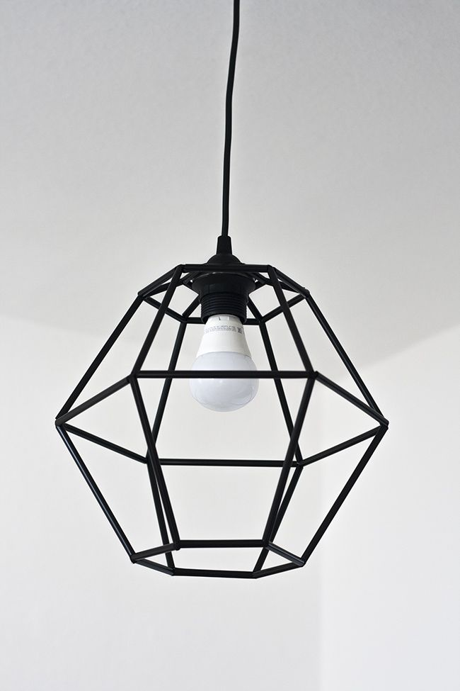 DIY Geometric Pendant Light Fixture made from straws