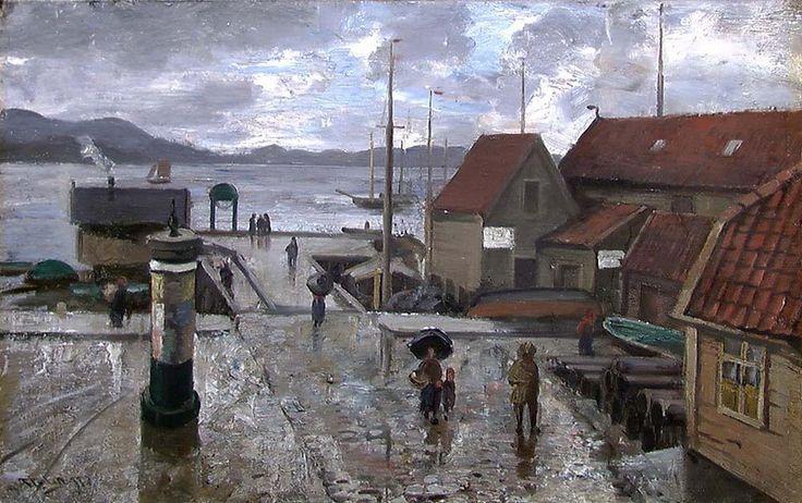 Frederik Collett - Sukkerhusbryggen i Bergen [Maleri]