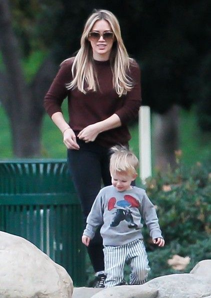 Actress Hilary Duff and husband Mike Comrie take their son Luca to a park in Los Angeles, California on January 7, 2014.